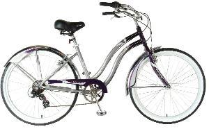 Victory Ladies Touring Cruiser Bike (Gray/Purple, 26 X 17-Inch)